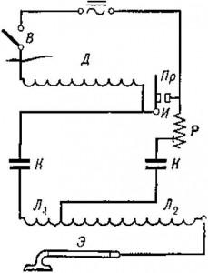 Схема аппарата для общей дарсонвализации